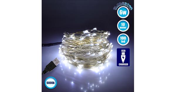 79732 Διακοσμητική Γιρλάντα 10 Μέτρων 100 LED USB 5 Volt 6 Watt με Ασημένιο Συρμάτινο Καλώδιο Ψυχρό Λευκό 6000k