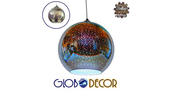 Μοντέρνο Κρεμαστό Φωτιστικό Οροφής Μονόφωτο Γυάλινο Νίκελ 3D Φ30  EARTH 01348