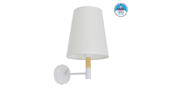 Μοντέρνο Φωτιστικό Τοίχου Απλίκα Μονόφωτο Λευκό με Μπέζ Ξύλο Μεταλλικό Φ20  LYDFORD WHITE 01433