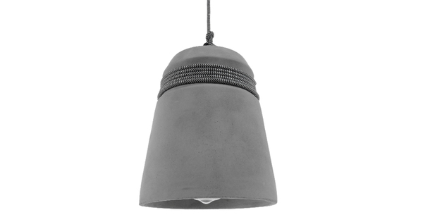 Μοντέρνο Industrial Κρεμαστό Φωτιστικό Οροφής Μονόφωτο Γκρι Τσιμέντο Καμπάνα Φ18 GloboStar FELINI 01321
