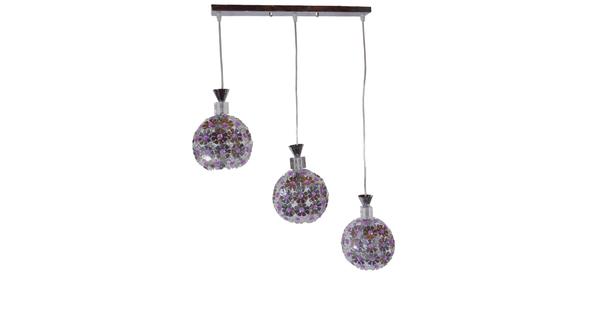 Μοντέρνο Κρεμαστό Φωτιστικό Οροφής Τρίφωτο Ασημί Μεταλλικό με Κρύσταλλα GloboStar ILLUME 01249