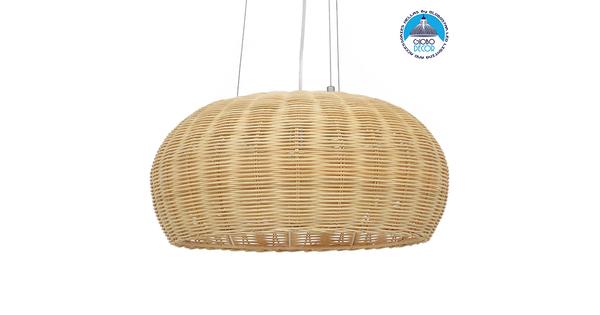 Vintage Κρεμαστό Φωτιστικό Οροφής Μονόφωτο Καφέ Ξύλινο Bamboo Φ45 GloboStar DE LA MER 01624
