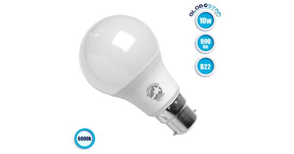Γλόμπος LED A60 με βάση B22 10 Watt 230v Ψυχρό GloboStar 01682