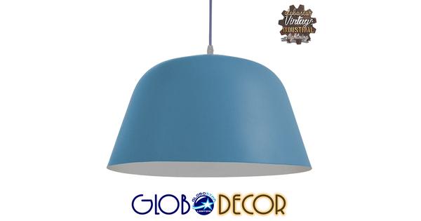 Μοντέρνο Κρεμαστό Φωτιστικό Οροφής Μονόφωτο Μπλε Μεταλλικό Καμπάνα Φ40  DOWNVALE 01286