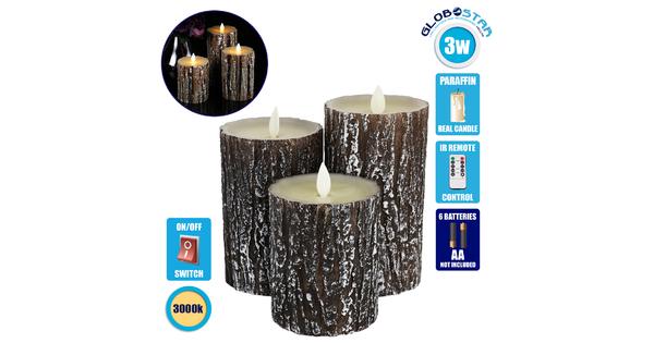 79562 ΣΕΤ 3 Διακοσμητικών Κεριών Παραφίνης με LED Μπαταρίας & Ασύρματο Χειριστήριο IR Καφέ Σχέδιο Κορμός Δέντρου Θερμό Λευκό 3000K