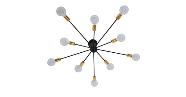 Μοντέρνο Industrial Φωτιστικό Οροφής Πολύφωτο Μαύρο Μεταλλικό Φ122 GloboStar OLINDA 01244