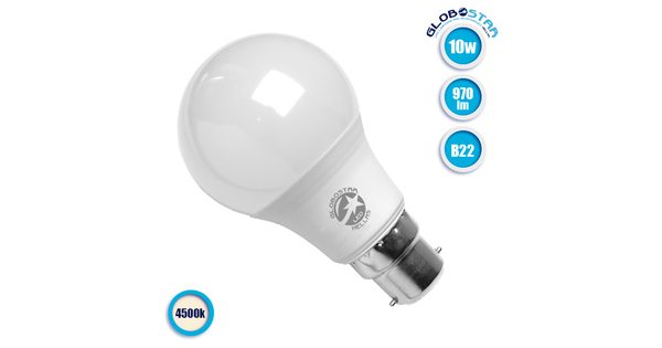 Γλόμπος LED A60 με βάση B22 10 Watt 230v Φυσικό Λευκό GloboStar 01683