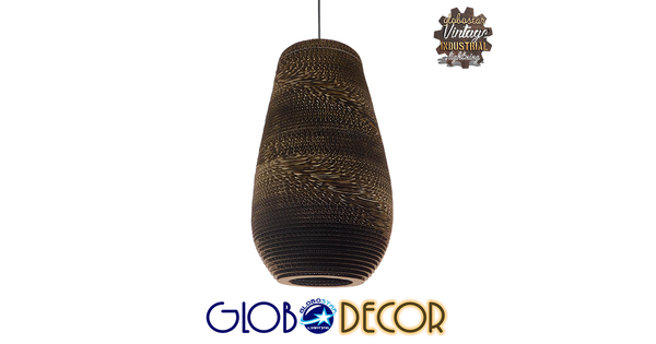Vintage Κρεμαστό Φωτιστικό Οροφής Μονόφωτο 3D από Επεξεργασμένο Σκληρό Καφέ Χαρτόνι Καμπάνα Φ25  IKARIA 01294