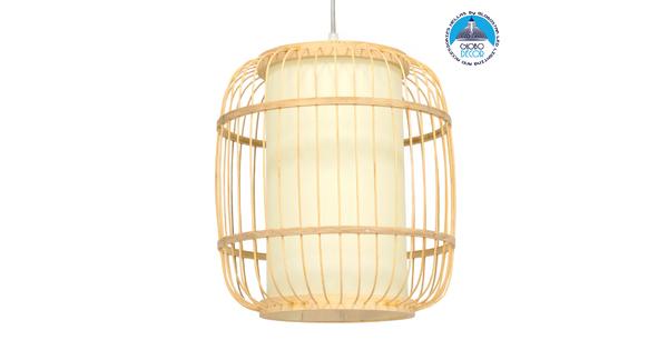 DE PARIS 01633 Vintage Κρεμαστό Φωτιστικό Οροφής Μονόφωτο Μπεζ Ξύλινο Bamboo Φ26 x Y32cm