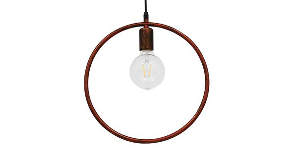 Μοντέρνο Κρεμαστό Φωτιστικό Οροφής Μονόφωτο Καφέ Σκουριά Μεταλλικό Φ33  OMICRON IRON RUST 01579
