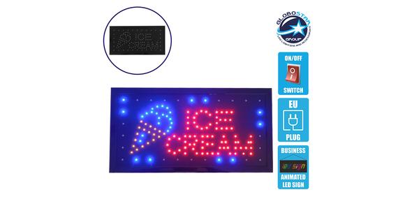 Φωτιστικό LED Σήμανσης ICE CREAM με Διακόπτη ON/OFF και Πρίζα 230v 48x2x25cm GloboStar 96311