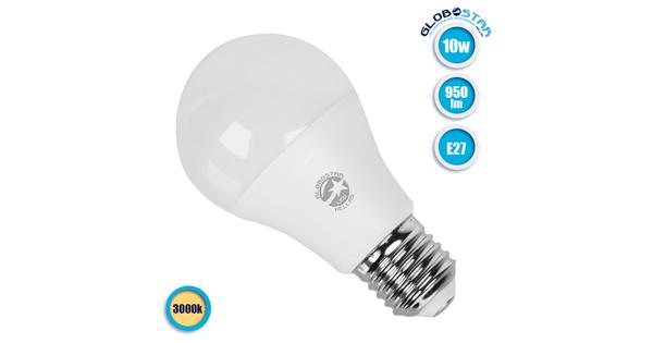 Γλόμπος LED A60 με βάση E27 10 Watt 230v Θερμό GloboStar 01726