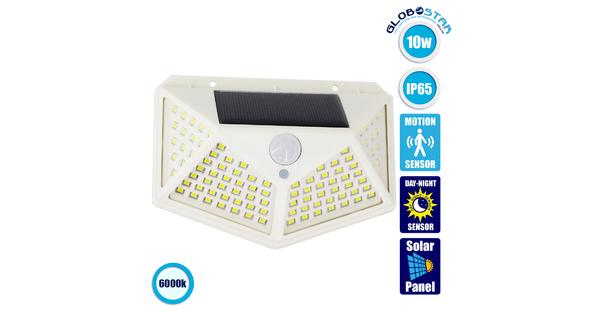 71498 Αυτόνομο Ηλιακό Φωτιστικό LED SMD 10W 1000lm με Ενσωματωμένη Μπαταρία 1200mAh - Φωτοβολταϊκό Πάνελ με Αισθητήρα Ημέρας-Νύχτας και PIR Αισθητήρα Κίνησης IP65 Ψυχρό Λευκό 6000K