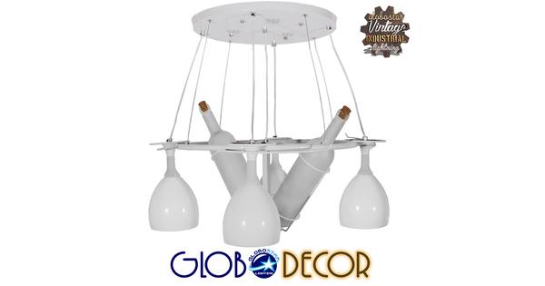 Μοντέρνο Κρεμαστό Φωτιστικό Οροφής Πολύφωτο LED Λευκό Πολυέλαιος Φ65  MOET WHITE 01220
