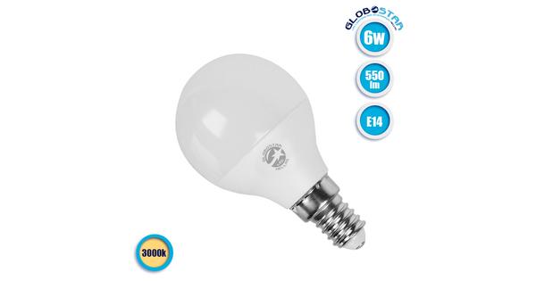Γλομπάκι LED G45 με βάση E14 6 Watt 230v Θερμό  01705