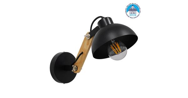 Μοντέρνο Φωτιστικό Τοίχου Απλίκα Μονόφωτο Μαύρο με Ξύλινο Βραχίονα Μεταλλικό Φ15 GloboStar GRANT BLACK 00902