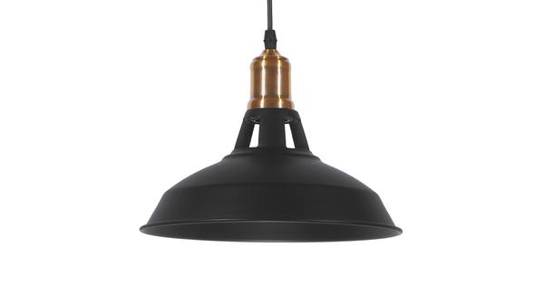 Vintage Industrial Κρεμαστό Φωτιστικό Οροφής Μονόφωτο Μαύρο Μεταλλικό Καμπάνα Φ28 GloboStar ANER BLACK 01073