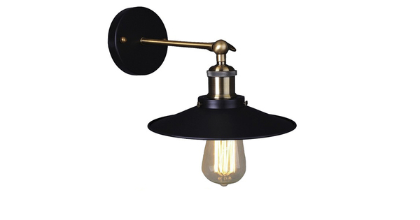 Vintage Industrial Φωτιστικό Τοίχου Απλίκα Μονόφωτο Μαύρο Μεταλλικό Καμπάνα Φ26 GloboStar MINIMALL 01039