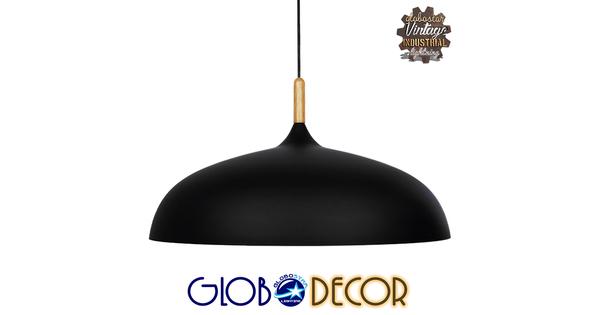 Μοντέρνο Κρεμαστό Φωτιστικό Οροφής Μονόφωτο Μαύρο Μεταλλικό Καμπάνα Φ60  VALLETE BLACK 01259