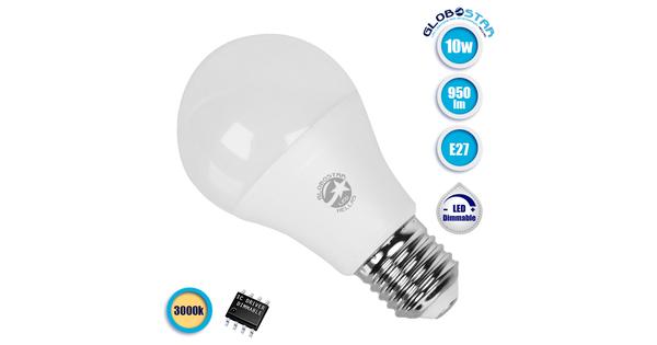 Γλόμπος LED A60 με βάση E27 10 Watt 230v Θερμό Dimmable  01729