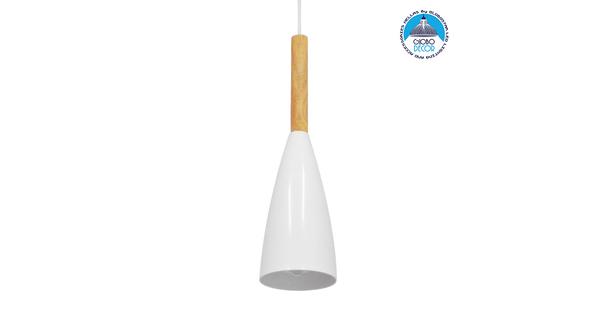 Μοντέρνο Κρεμαστό Φωτιστικό Οροφής Μονόφωτο Λευκό Μεταλλικό Καμπάνα Φ11 GloboStar DILLON WHITE 00876