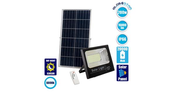 GloboStar® 71558 Αυτόνομος Ηλιακός Προβολέας LED SMD 200W 16000lm με Ενσωματωμένη Μπαταρία 20000mAh - Φωτοβολταϊκό Πάνελ με Αισθητήρα Ημέρας-Νύχτας και Ασύρματο Χειριστήριο RF 2.4Ghz Αδιάβροχος IP66 Ψυχρό Λευκό 6000K