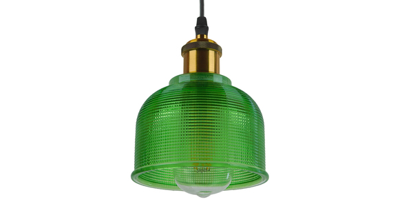 Vintage Κρεμαστό Φωτιστικό Οροφής Μονόφωτο Πράσινο Γυάλινο Διάφανο Καμπάνα με Χρυσό Ντουί Φ14  SEGRETO GREEN 01451