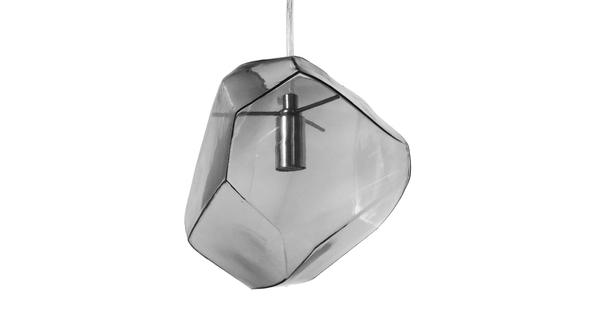 Μοντέρνο Κρεμαστό Φωτιστικό Οροφής Μονόφωτο Γυάλινο Γκρι Διάφανο GloboStar DIADEMA 01307