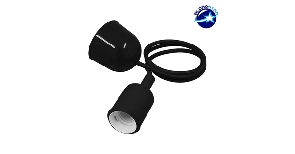 Μαύρο Κρεμαστό Φωτιστικό Οροφής Σιλικόνης με Υφασμάτινο Καλώδιο 1 Μέτρο E27  Black 91013