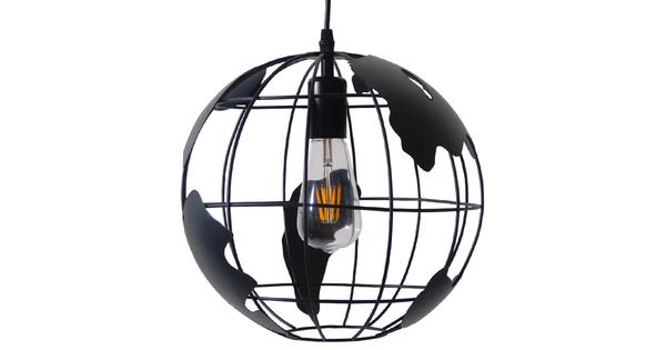 Vintage Industrial Κρεμαστό Φωτιστικό Οροφής Μονόφωτο Μαύρο Μεταλλικό Πλέγμα Φ30  WORLD 01205