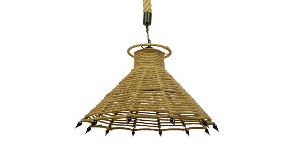 Vintage Κρεμαστό Φωτιστικό Οροφής Μονόφωτο Μπεζ Καμπάνα με Σχοινί Φ41  OZERO 01603