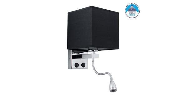 ELEGANT 01494 Μοντέρνο Φωτιστικό Τοίχου Απλίκα Δίφωτο Μεταλλικό με Μαύρο Ύφασμα και Βραχίονα με LED Μ17 x Π21 x Υ43cm