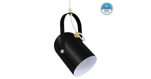 Μοντέρνο Κρεμαστό Φωτιστικό Οροφής Μονόφωτο Σατινέ Μαύρο με Χρυσές Λεπτομέρειες Μεταλλικό Φ12cm GloboStar HAZEL BLACK 00930