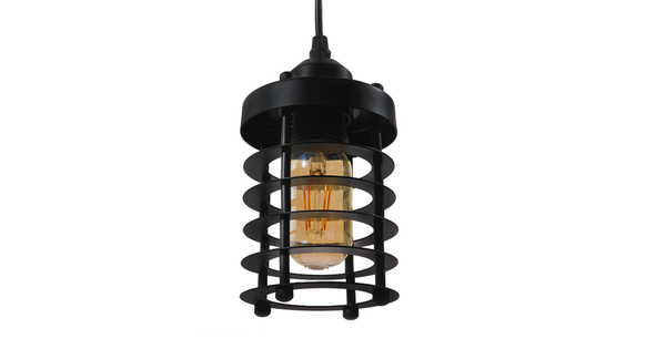 Vintage Industrial Κρεμαστό Φωτιστικό Οροφής Μονόφωτο Μαύρο Μεταλλικό Πλέγμα Φ10  ROVENA 01145