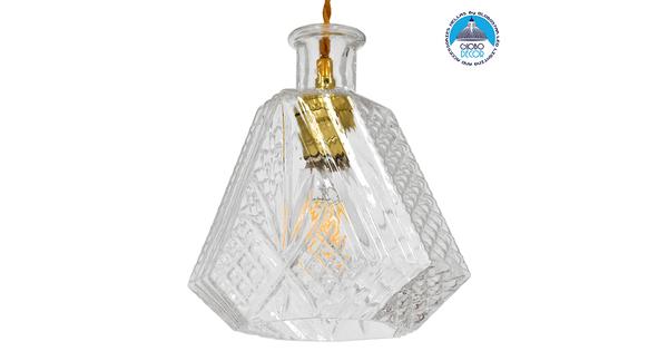 Vintage Κρεμαστό Φωτιστικό Οροφής Μονόφωτο Γυάλινο Διάφανο Φ11  LIQUEUR 01515