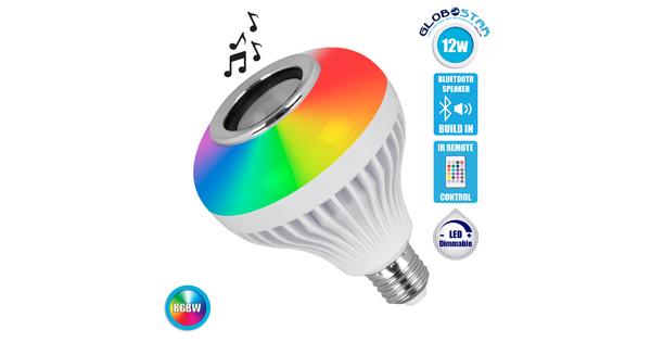 GloboStar® 76079 Λάμπα E27 PAR30 LED 12W 650lm 180° AC 85-265V με Bluetooth Speaker και Ασύρματο Χειριστήριο IR Πολύχρωμη RGBW 6000K