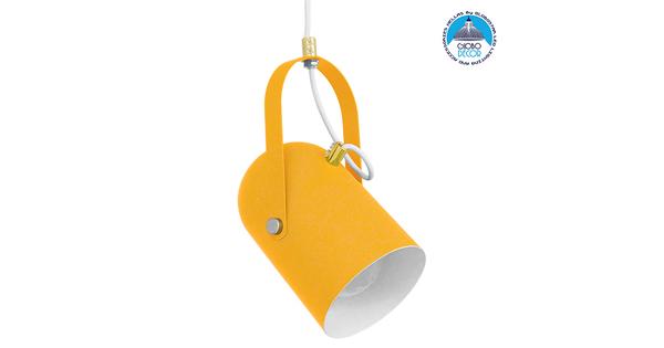 Μοντέρνο Κρεμαστό Φωτιστικό Οροφής Μονόφωτο Κίτρινο Ματ με Χρυσές Λεπτομέρειες Μεταλλικό Φ12cm GloboStar HAZEL YELLOW 00926