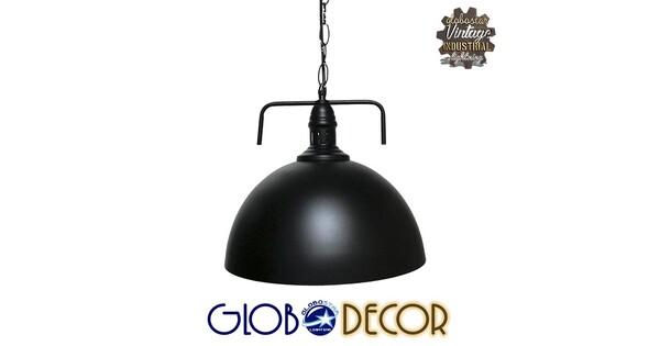 Vintage Κρεμαστό Φωτιστικό Οροφής Μονόφωτο Μαύρο Μεταλλικό Καμπάνα Φ31  LARKIN BLACK 01175