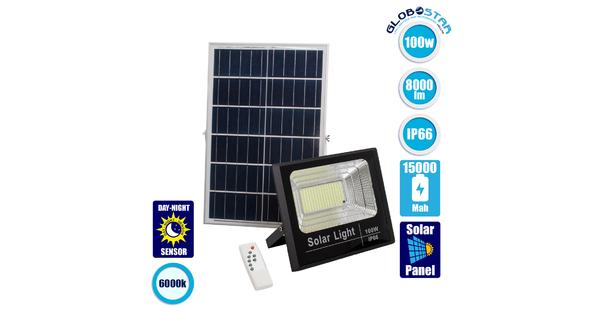 71557 Αυτόνομος Ηλιακός Προβολέας LED SMD 100W 8000lm με Ενσωματωμένη Μπαταρία 15000mAh - Φωτοβολταϊκό Πάνελ με Αισθητήρα Ημέρας-Νύχτας και Ασύρματο Χειριστήριο RF 2.4Ghz Αδιάβροχος IP66 Ψυχρό Λευκό 6000K