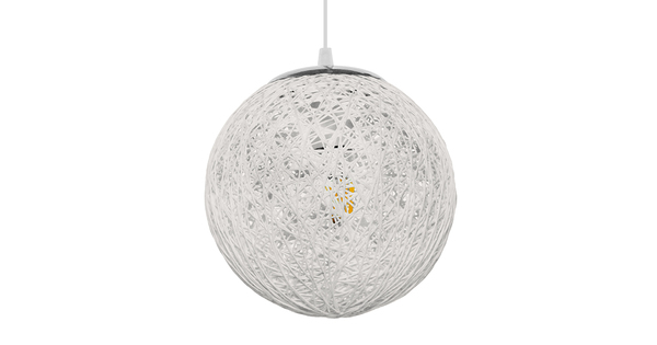 Vintage Κρεμαστό Φωτιστικό Οροφής Μονόφωτο Λευκό Ξύλινο Ψάθινο Rattan Φ20  ICEBERG 01355