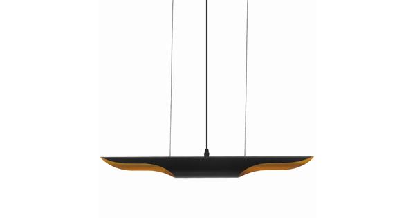 Μοντέρνο Κρεμαστό Φωτιστικό Οροφής Δίφωτο Μαύρο - Χρυσό Μεταλλικό GloboStar ESTERINA 01304