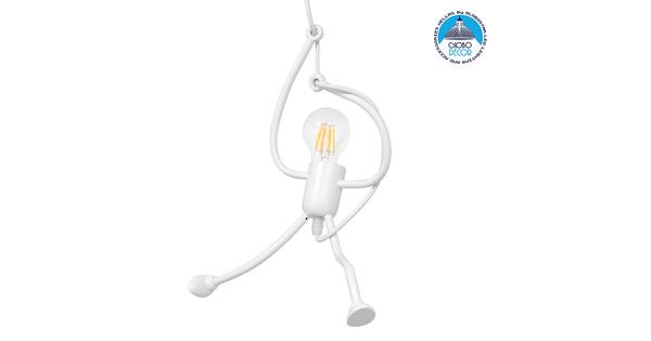 Μοντέρνο Κρεμαστό Φωτιστικό Οροφής Μονόφωτο Λευκό Μεταλλικό Φ20  LITTLE MAN WHITE 01651