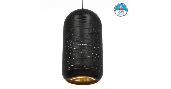 Μοντέρνο Κρεμαστό Φωτιστικό Οροφής Μονόφωτο Μαύρο με Χρυσό Μεταλλικό Καμπάνα Φ20  SAGA 01591