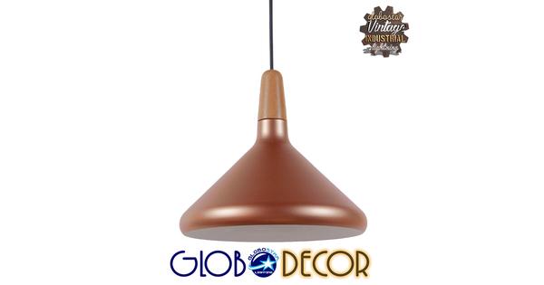 Μοντέρνο Κρεμαστό Φωτιστικό Οροφής Μονόφωτο Χάλκινο Μεταλλικό Καμπάνα Φ27  BARING 01224