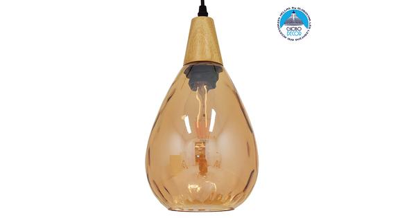 Μοντέρνο Κρεμαστό Φωτιστικό Οροφής Μονόφωτο Γυάλινο με Ξύλο Μελί Φ16  NOAH GOLD 01490