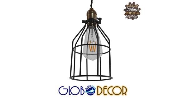 Vintage Industrial Κρεμαστό Φωτιστικό Οροφής Μονόφωτο Μαύρο Μεταλλικό Πλέγμα Φ14  GALOT 01179