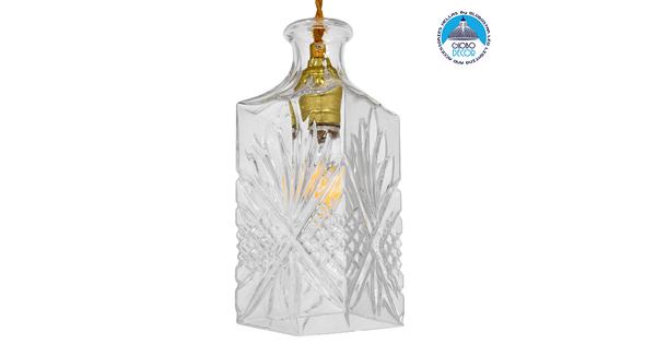 Vintage Κρεμαστό Φωτιστικό Οροφής Μονόφωτο Γυάλινο Διάφανο Φ10  BRANDY 01516