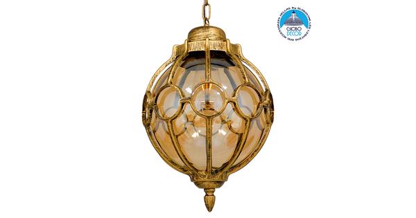ETOILE 00987 Vintage Industrial Κρεμαστό Φωτιστικό Οροφής Μονόφωτο Μπρονζέ Χρυσό Μεταλλικό Πλέγμα με Μελί Γυαλί Φ28 x Υ38cm