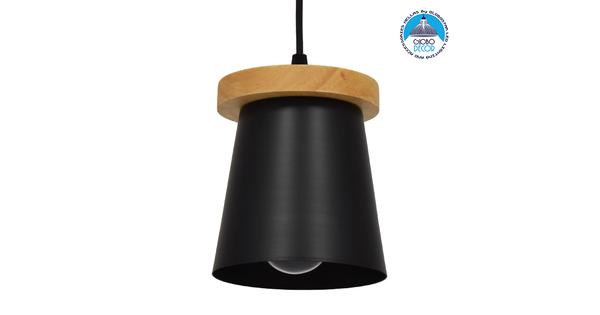 Μοντέρνο Κρεμαστό Φωτιστικό Οροφής Μονόφωτο με Ξύλινη Βάση και Μαύρο Καπέλο Ø13xY17cm GloboStar LANA 01424