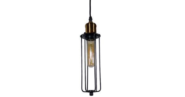 Vintage Industrial Κρεμαστό Φωτιστικό Οροφής Μονόφωτο Μαύρο Μεταλλικό Πλέγμα Φ7  KLECE 01057